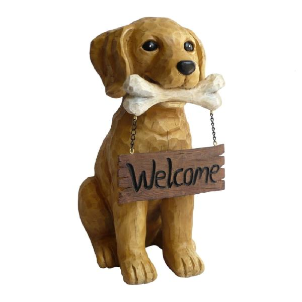 "13.5"" Dog With Sign Garden Statue"
