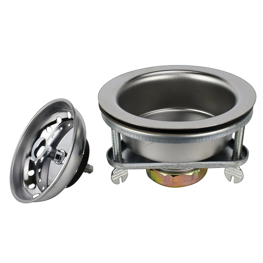 keeney 3 5 in chrome stainless steel rust resistant strainer with lock mount included basket included lowes com
