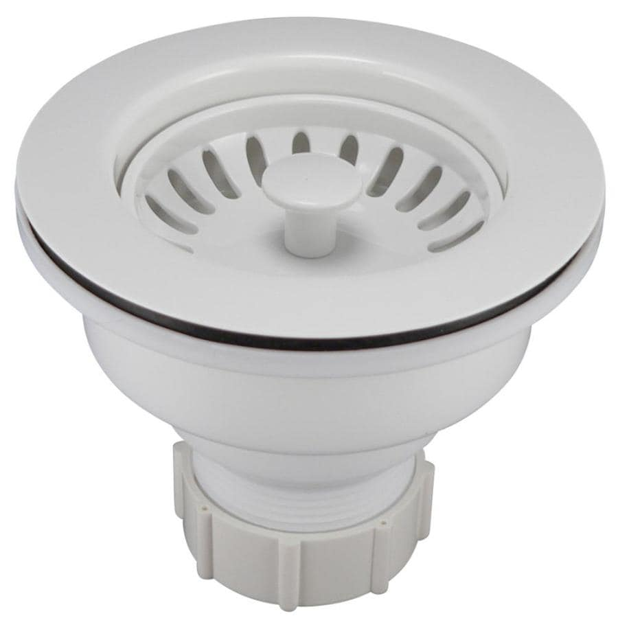 kitchen sink strainers ethan allen table keeney 3 5 in white plastic strainer basket at lowes com