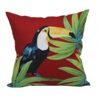 Shop Red and Green Tropical Square Throw Pillow Outdoor ...