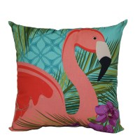 Shop Blue and Pink Tropical Square Throw Pillow Outdoor ...