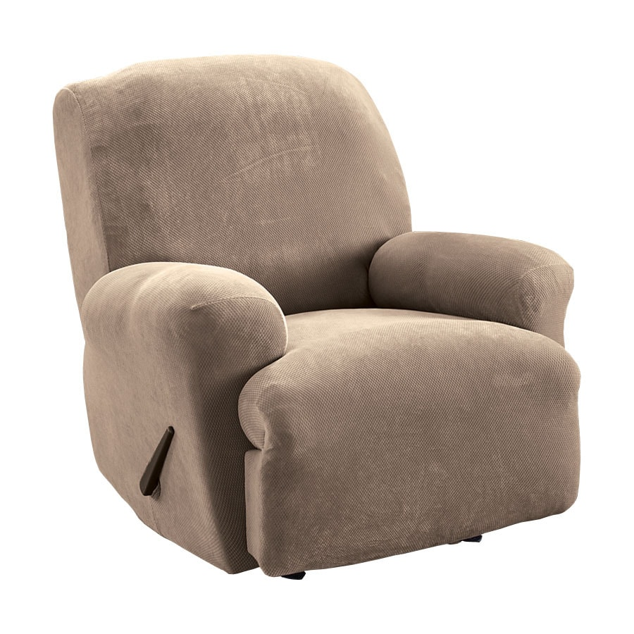 recliner chair covers grey barber parts stretch pique taupe velvet slipcover at lowes com