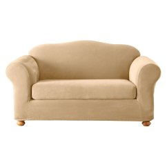 Slipcovers For Sofa Cushions Only Plastic Wrapped Shop Stretch Pique Cream Velvet Slipcover At Lowes.com
