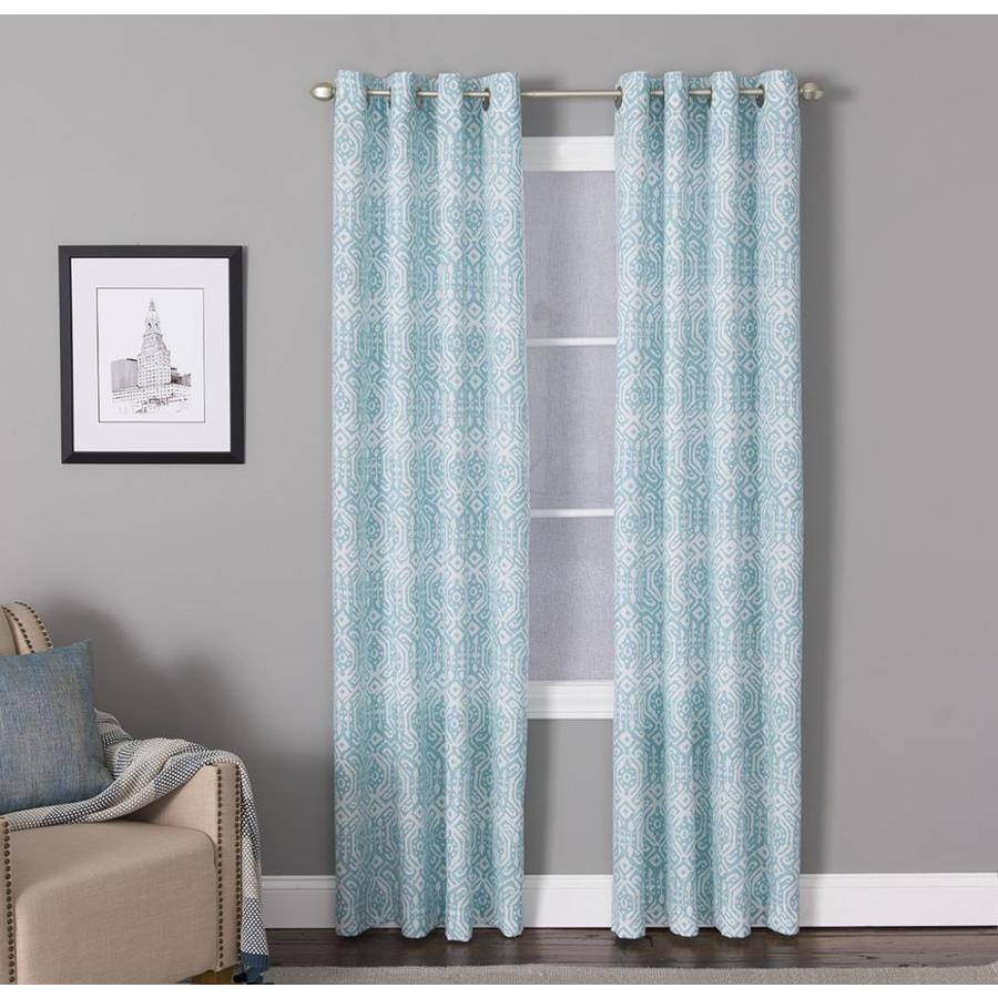 living logic 84 in teal polyester light filtering grommet single curtain panel