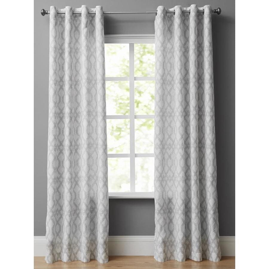 style selections 84 in grey poly cotton light filtering grommet single curtain panel