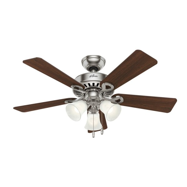 Hunter Ridgefield 44-in Brushed Nickel Led Indoor Ceiling