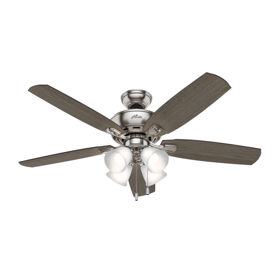 medium resolution of hunter amberlin led 52 in satin nickel led indoor ceiling fan with light kit 5 blade