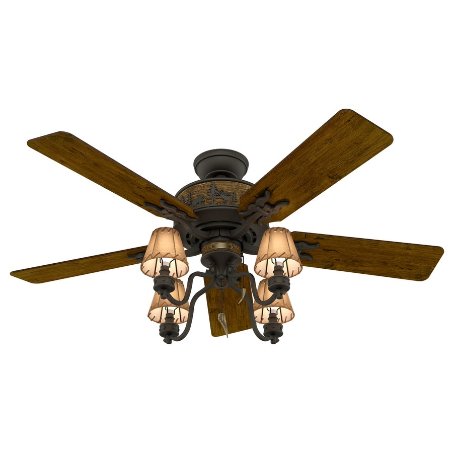 hight resolution of hunter adirondack 52 in indoor ceiling fan with light kit 5 blade