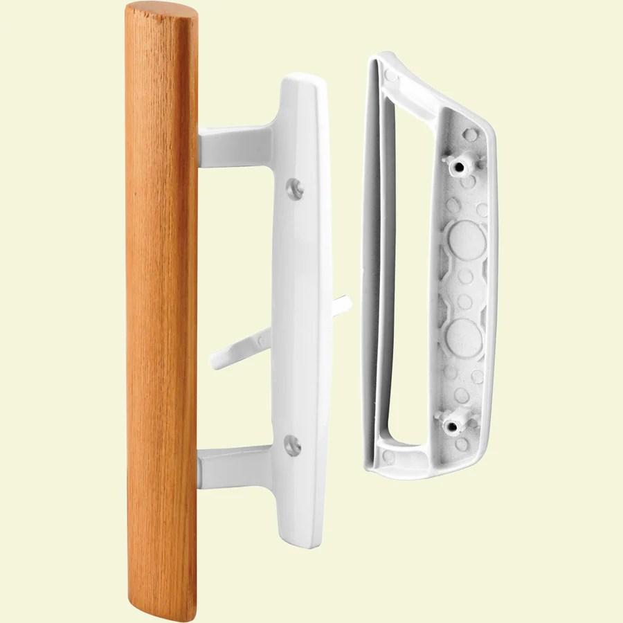 prime line white patio door handle set with wooden handle