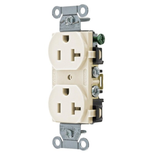 small resolution of hubbell light almond 20 amp duplex residential commercial outlet