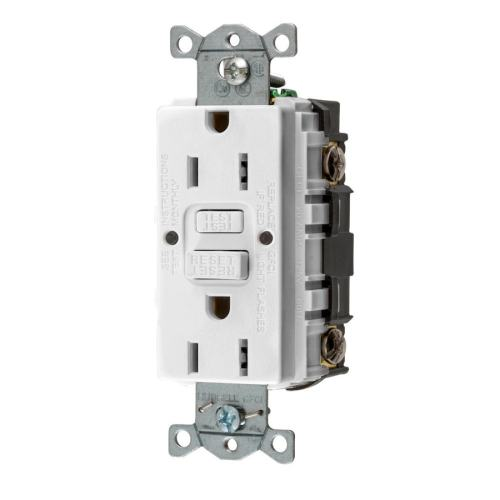 small resolution of hubbell white 15 amp decorator outlet gfci protection residential commercial