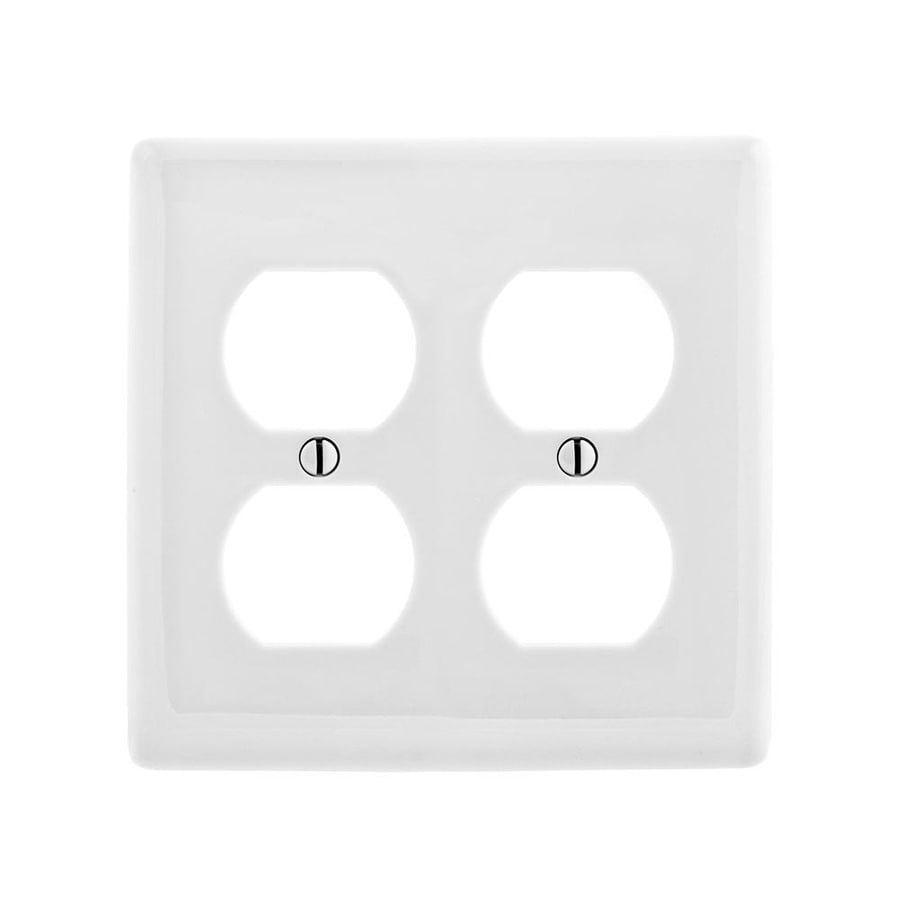 Hubbell 2 Gang White Double Wall Plate At Lowes