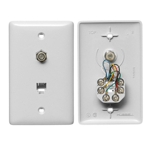 small resolution of hubbell nylon f type coax telephone wall jack