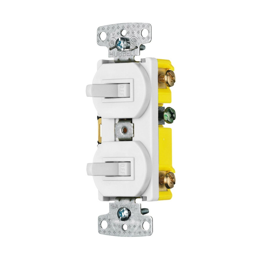 hight resolution of hubbell 15 amp single pole 3 way white combination residential light switch