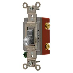Hubbell 1520Amp SinglePole Clear Toggle Light Switch at
