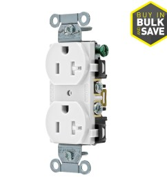 hubbell white 20 amp duplex tamper resistant residential commercial outlet [ 900 x 900 Pixel ]