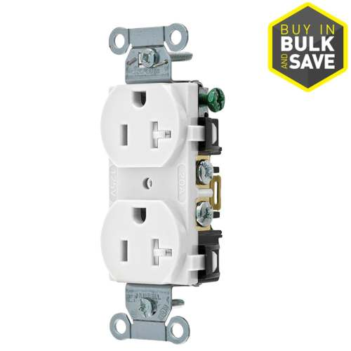 small resolution of hubbell white 20 amp duplex tamper resistant residential commercial outlet