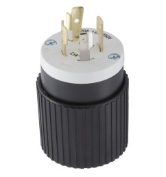 hubbell 20 amp 125 250 volt black white 4 wire grounding plug [ 900 x 900 Pixel ]