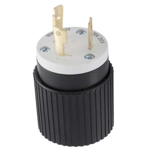 small resolution of hubbell 30 amp volt black white 3 wire grounding plug