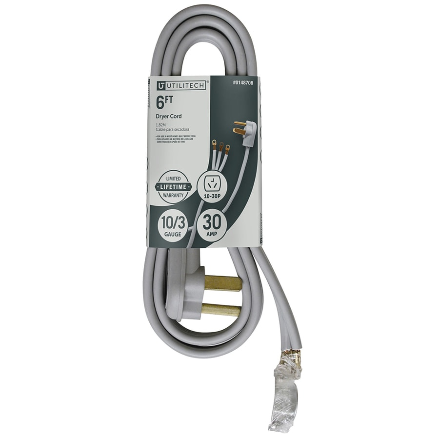 hight resolution of utilitech 6 ft 3 wire gray dryer appliance power cord