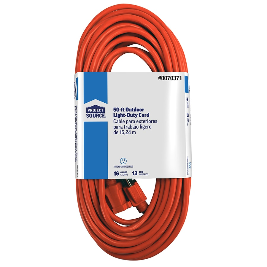 3 prong extension cord wiring diagram for capacitor start motor cords at lowes com project source 50 ft 16 awg sjtw 13 amps general