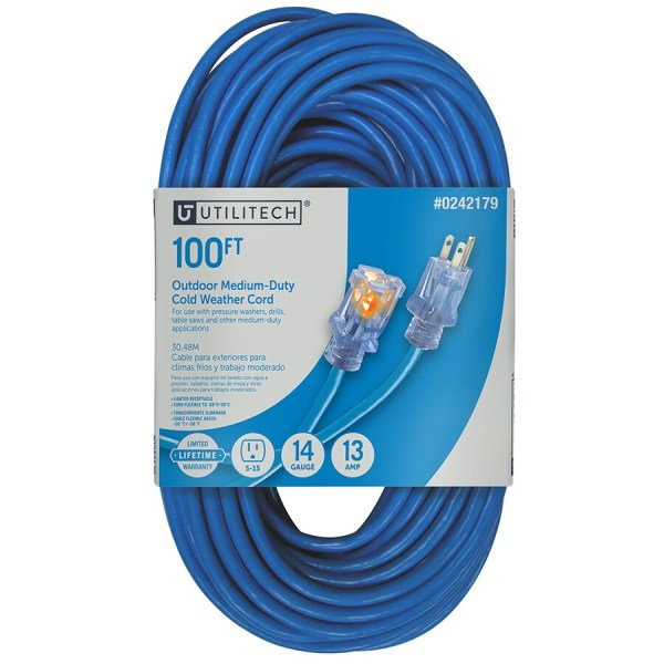 Utilitech 100-ft 13-amp 14-gauge Blue Outdoor Cold Weather Extension Cord
