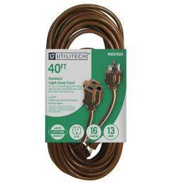 utilitech 40 ft 16 awg 3 sjtw 13 amps general extension cord [ 900 x 900 Pixel ]