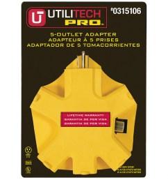 utilitech pro 15 amp 3 wire grounding single to triple yellow adapter [ 900 x 900 Pixel ]