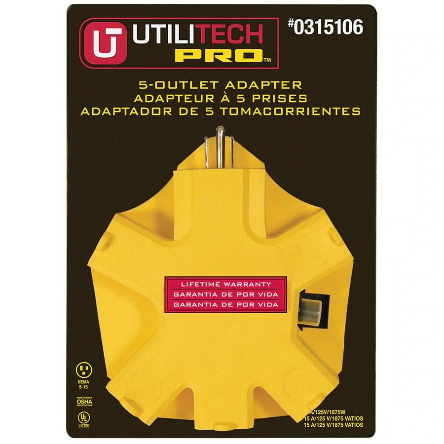 medium resolution of utilitech pro 15 amp 3 wire grounding single to triple yellow adapter