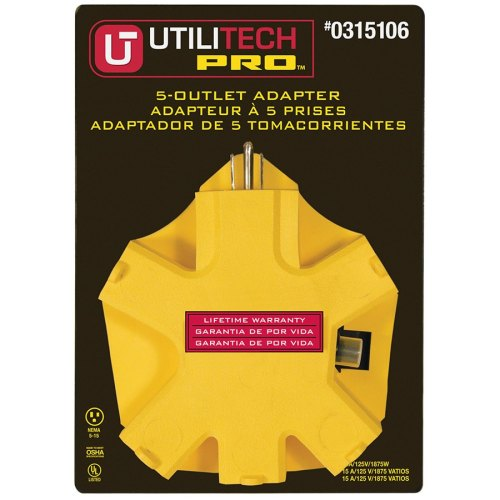small resolution of utilitech pro 15 amp 3 wire grounding single to triple yellow adapter