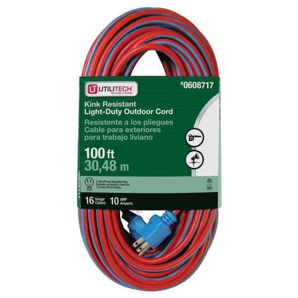 Utilitech 100-ft 10-amp 120-volt 16-gauge Orange Blue Outdoor Extension Cord