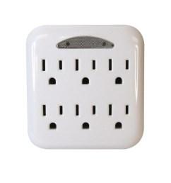 utilitech 15 amp 3 wire grounding duplex to six white basic adapter [ 900 x 900 Pixel ]