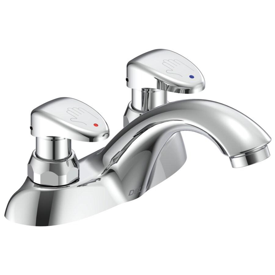 https www lowes com pd delta commercial chrome 2 handle 4 in centerset bathroom sink faucet 1000038333