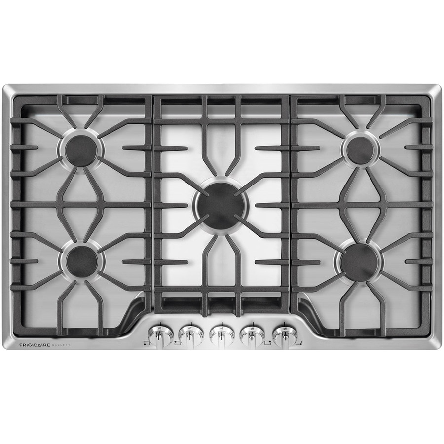 medium resolution of frigidaire gallery 36 in 5 burner stainless steel gas cooktop common 36 in actual 36 in