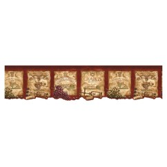 Wall Paper Borders For Kitchens Shelving Kitchen Pantry Norwall Style Wine Label Wallpaper Border At Lowes Com