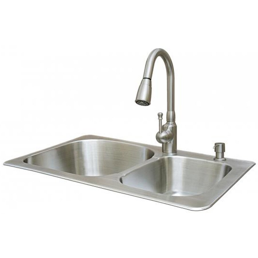 american standard sink 2 go 18 gauge double basin drop in stainless steel kitchen sink with faucet