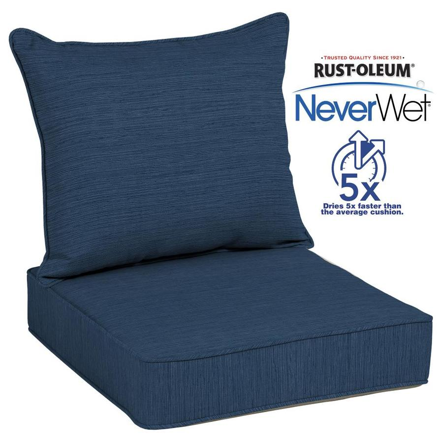 patio chair pads power wheelchair bags shop allen + roth neverwet 2-piece navy deep seat cushion at lowes.com