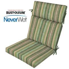 High Back Wicker Chair Cushions Walmart Table And Chairs Set Allen Roth Stripe Patio Cushion For