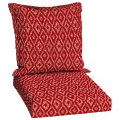 Lowes Outdoor Chair Cushions Wedding Reception Chairs Shop Garden Treasures Red Diamond Ruby Geometric Deep Seat Patio Cushion For ...
