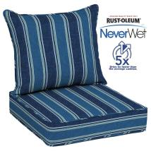 Allen Roth Neverwet 2-piece Blue Coach Stripe Deep Seat