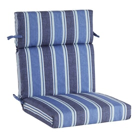 high back chair patio furniture tufted leather desk cushion cushions at lowes com allen roth 1 piece blue coach stripe