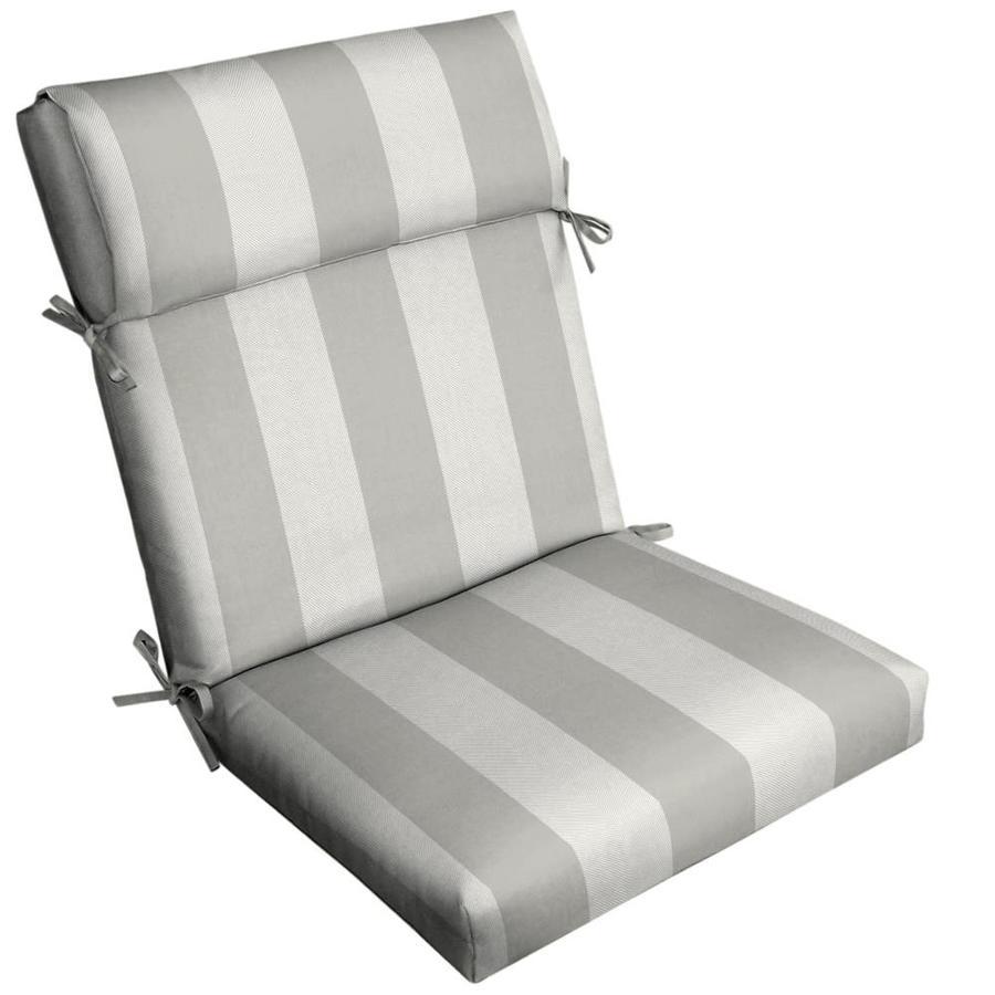allen roth herringbone cabana stripe dove grey high back patio chair cushion