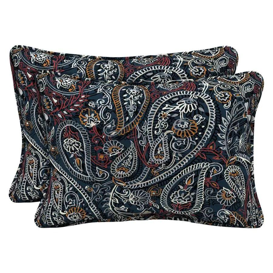arden selections 2 pack paisley navy orange black red and cream rectangular lumbar pillow