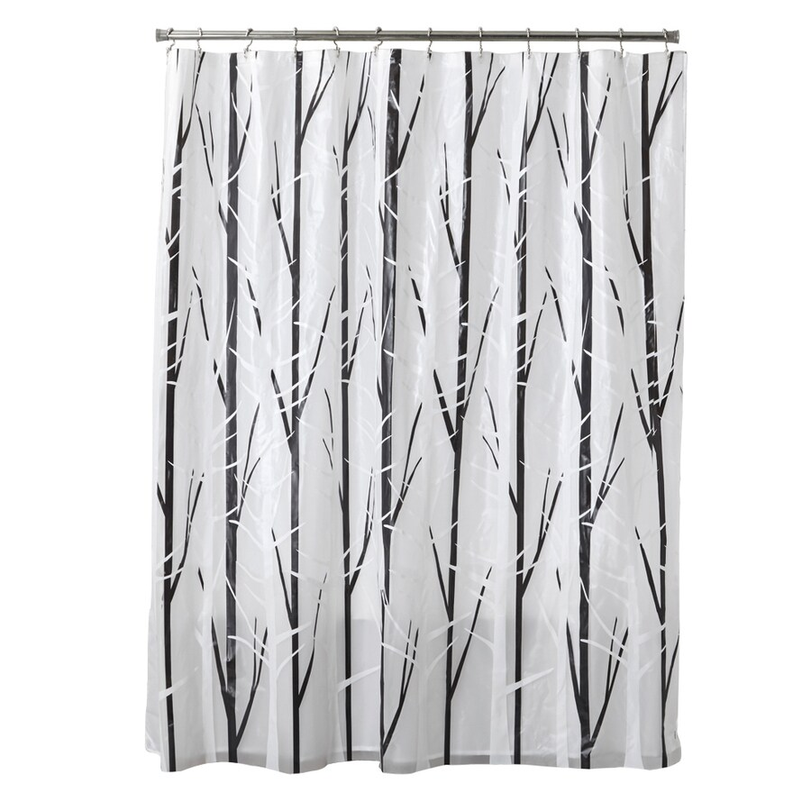 style selections 72 in eva peva black white patterneded shower curtain lowes com