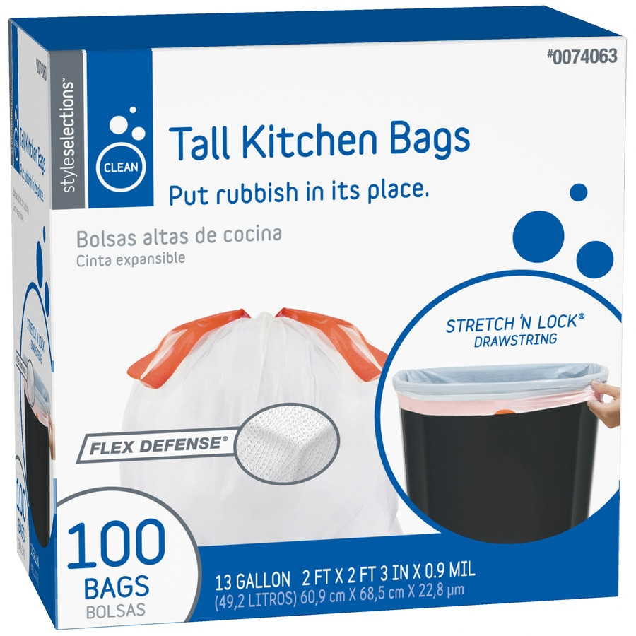 kitchen garbage bags decoration ideas style selections 100 count 13 gallon trash at lowes com
