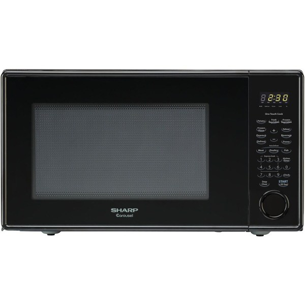 Sharp 1.1-cu Ft 1 000-watt Countertop Microwave Smooth Black