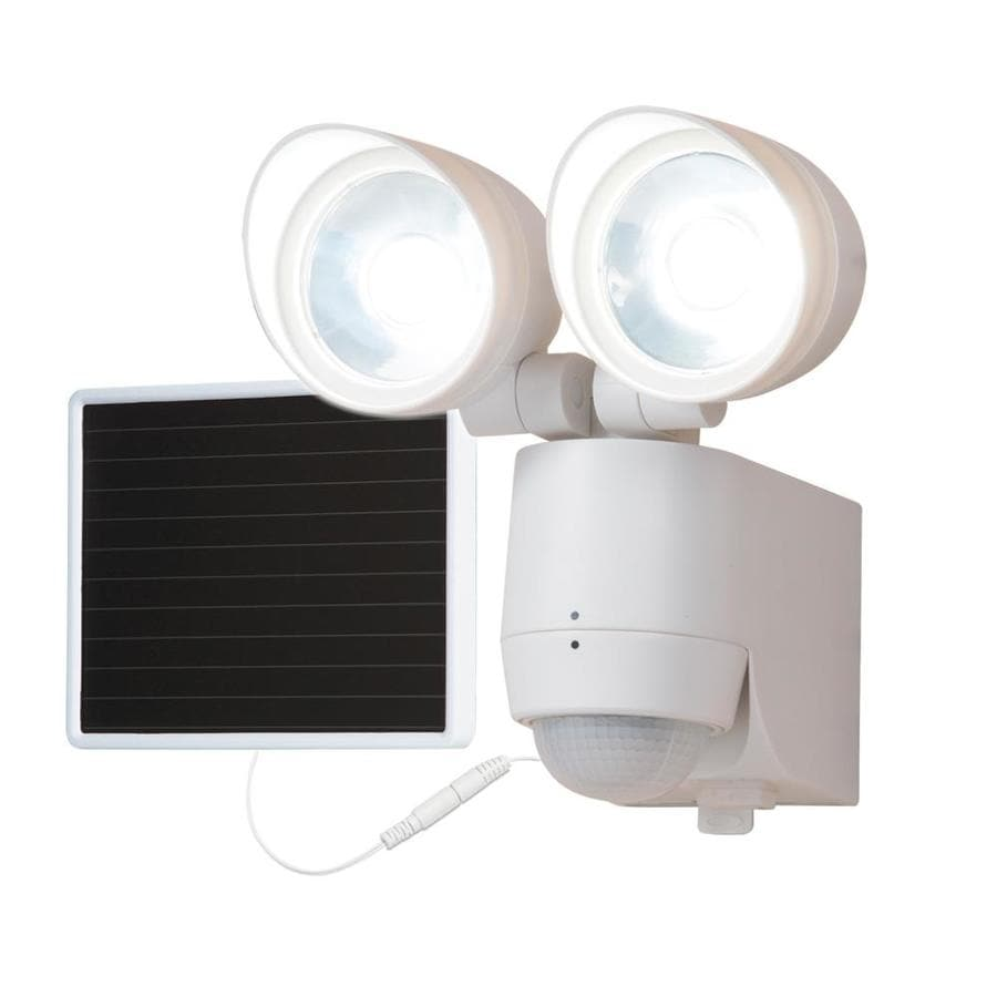 all pro 180 degree 320 lumen white solar integrated led motion activated flood light with timer