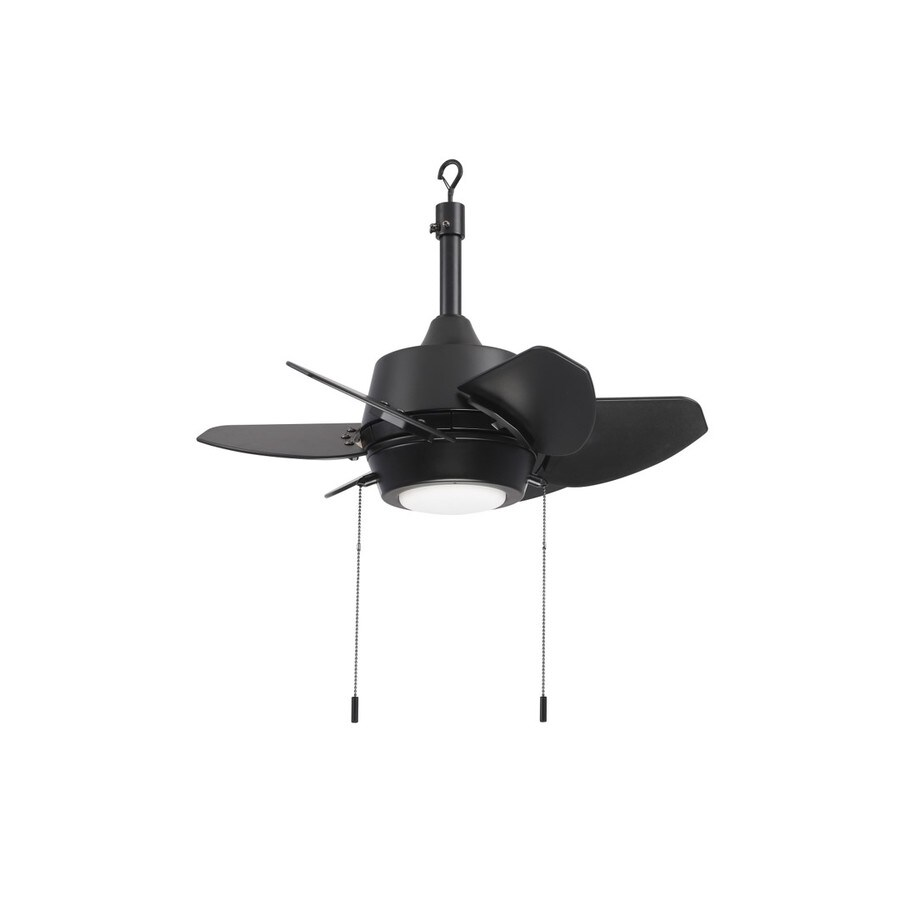 harbor breeze gaskin 24 in matte black led indoor outdoor ceiling fan with light 6 blade