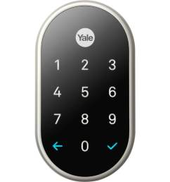 yale nest x lock with nest connect satin nickel single cylinder deadbolt 1 cylinder lighted keypad [ 900 x 900 Pixel ]