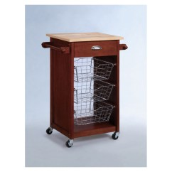 Cherry Kitchen Cart Rustic Clock Powell Heritage At Lowes Com